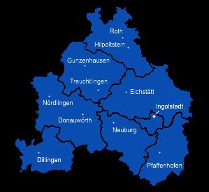 Landkreisgrenzen und Ortsverbände im THW Geschäftsführerbereich Ingolstadt